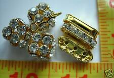 Metal Rhinestone Beads Roundel Spacer, 2pcs charm