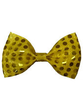 Sequin Fancy Dress Clown Accessories Gold Sequinned Dickie Bow Tie New Circus