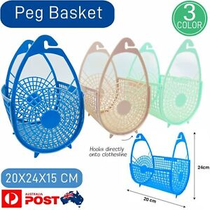Plastic Pegs Hanging Basket Bags Holders Storage Laundry Clothes Washing Clip