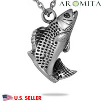 Fancy Fish Cremation Jewelry Keepsake Memorial Ashes Urn Holder Necklace Silver