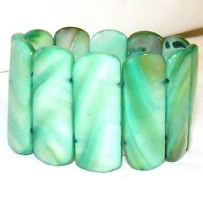 """BR379 Green 40mm Rectangle Mother of Pearl Shell 7"""" Stretch Bracelet"""