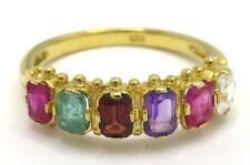 Ring Rubin Smaragd Granat Amethyst & Cz 925 Sterling Silber Vergoldet Ø 17,2 mm