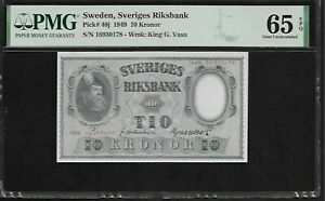 Sweden 10 Kronor 1949  PMG 65 EPQ UNC   Pick # 40j   PMG Population 2/1