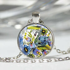 Spring Flowers Bird Swan Glass Cabochon Tibet silver pendant chain necklace