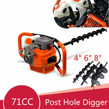 71cc Post Hole Digger Petrol Auger Borer Fence Earth Ground Drill 4 6 8 Bit