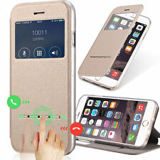 UK Slim Flip Window View Leather Smart Case Cover For iPhone 7 6s SE Samsung S7