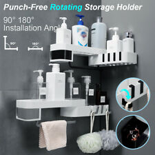 Wall Mounted Punch-Free Shower Storage Corner Rack Shelf Hanger Bathroom Kitchen