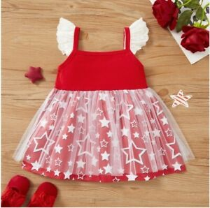 Size 6-9m to 18-24 months baby toddler girls dress red white star tulle dress