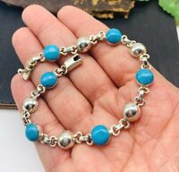 Taxco Mexico Turquoise  Bracelet 925 Solid Sterling Silver Mexican Jewelry