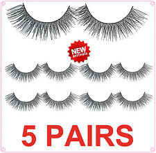 5 Pairs Natural Black Soft Fake False Curl Cross Eyelashes Makeup Handmade #18
