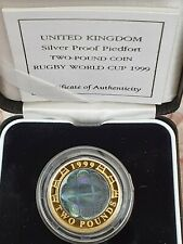 More details for royal mint, 1999 silver proof piedfort two pound, £2 coin, rugby, hologram mint