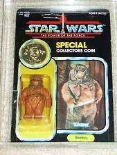 Vintage Star Wars KENNER 1985 AFA 80 ROMBA EWOK POTF 92 BACK CARD MOC UNPUNCHED!