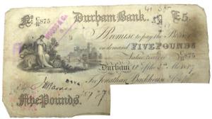 1887 Durham Bank £5 Five Pound Banknote C/R.