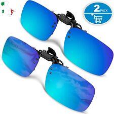 Clip Occhiali da Sole Polarizzati a Specchio Clip-on Esterno Guida Uomo 2 Pezzi