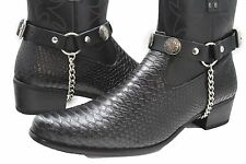 Women Silver Metal Chains Boot Bracelets Shoe Charm Black Straps Indian American