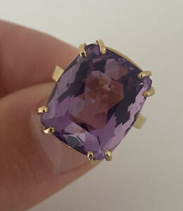 18ct Gold 10ct Amethyst Large Heavy Vintage Ring