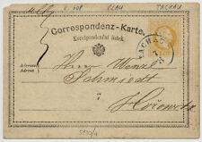 1872 2kr, Korr-Karte mit BLAUSTEMPEL TACHAU (B) Kl:40Punkte! Nach HOROWITZ.