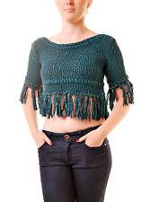 Free People Femmes Authentique sur la frange Tricot Pull Vert RRP £ 84 BCF69
