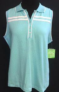 NEW Womens Coral Bay Sleeveless Polka Dot Golf Shirt S L XL Petite Black Pink