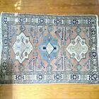 Hand-knotted Vintage Pink And Light Blue Area Rug (4x6)