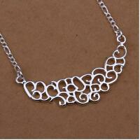 925 Sterling Silver SP Choker Necklace Pendant Gift Present Lady Women Girl