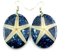 Natural Mother of Pearl Shell Starfish Dangle Drop Blue Earrings Jewelry CA289