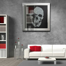 Mirrored 3D Effect Skull Picture Frame Glass Home Wall Mural Photo Decoration UK