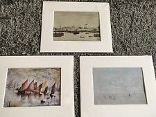 3 For 2 X SMALL LS Lowry Prints (Boats) In Mount Ready To Frame -