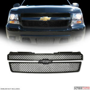 For 07-14 Tahoe/Suburban/Avalanche Matte Blk Mesh Upper Front Hood Grill Grille