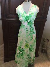 Vintage Tiki Maxi LIBERTY HOUSE TROPICANA Green floral tie back Hawaiian Med