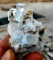 485 CT Very Beautiful Aquamarine Crystals Bunch With Muscovite Specimen @ Nagar