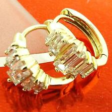 HOOP HUGGIE EARRINGS REAL 18K YELLOW G/F GOLD DIAMOND SIMULATED DESIGN FS3AN976