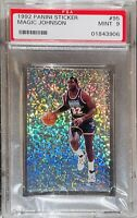 🔥1992 Magic Johnson PANINI FOIL STICKER WHITE SPARKLE REFRACTOR #95 PSA 9 BGS