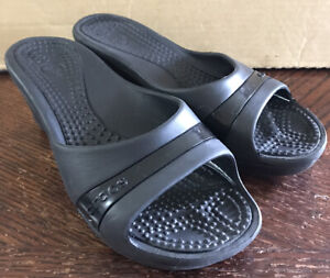 Crocs Women Shoe Sassari Size 8M Black Wedge Heel Slide Sandal Pre Owned xq