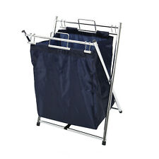 Chrome Blue Clothes Laundry Cart Basket Hamper With Removable Laundry Bag Handle
