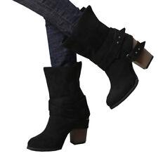 Damen Stiefel Stiefeletten Schlupfstiefel Langschaft Boots Schuhes Winterstiefel