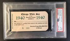 1940 Bob Feller Triple Crown/No-Hit GM Ticket Pass PSA At White Sox Nr Mt