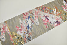 VINTAGE SILK FUKURO OBI BELT:Gold/Grey Crane Group/Tsunami Wave/PlumBlossom@Y139