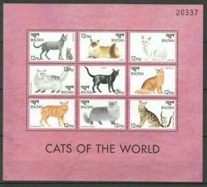 [BHUT] BHUTAN 1999 CATS, DOMESTIC PETS. SHEET OF 9 STAMPS.
