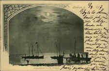 BORKUM 1907 Sommerstrand Schiffe Boote Nordsee gelaufen ab Norderney n. Neustadt