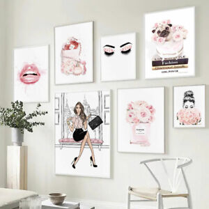 Fashion Girl Wall Print Lashes Lips Pink Flower Canvas Poster Modern Home Decor