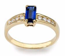 Edwardian Emerald cut Sapphire Diamond Gold Solitaire Ring 14 Karat Yellow gold