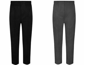 BOYS ALL AROUND FULL ELASTICATED SCHOOL PULL UP TROUSERS~GREY/BLACK~2/3 TO 15/16