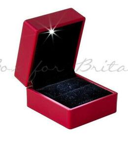 LED Light Ring Box,Red Engagement Ring Box With LED Light