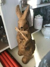Brown Paper DECOUPAGE Print Covered Easter Bunny 16 1/2 inch FIGURINE PRIMITIVE