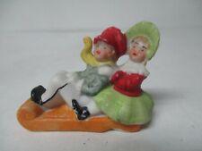 Vintage Germany Porcelain Christmas - Boy & Girl on Sled - Snowbaby