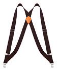 "Buyless Fashion Men Trucker Suspenders 48"" Elastic Adjustable 1 1/4"" X Back"