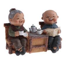 Handmade Old Age Life Resin Couple Read Newspaper Figurines Home Art Decor