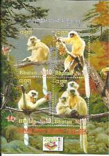 Stamps Bhutan Lunar Wood Monkey Year 2014 4V Golden Langur BABOON MNH Miniature