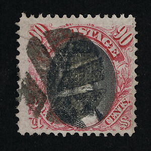 AFFORDABLE GENUINE SCOTT #122 F-VF USED 1869 90¢ PICTORIAL CLEAR G-GRILL #11335